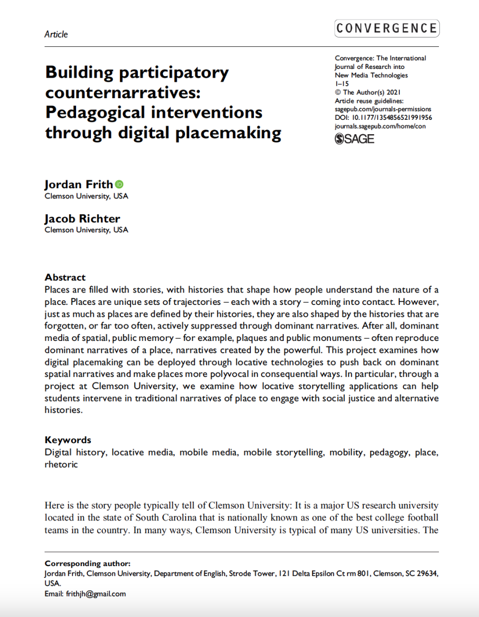 Image is of Jacob Richter and Jordan Frith's article in Convergence. It's a screenshot of the title page.