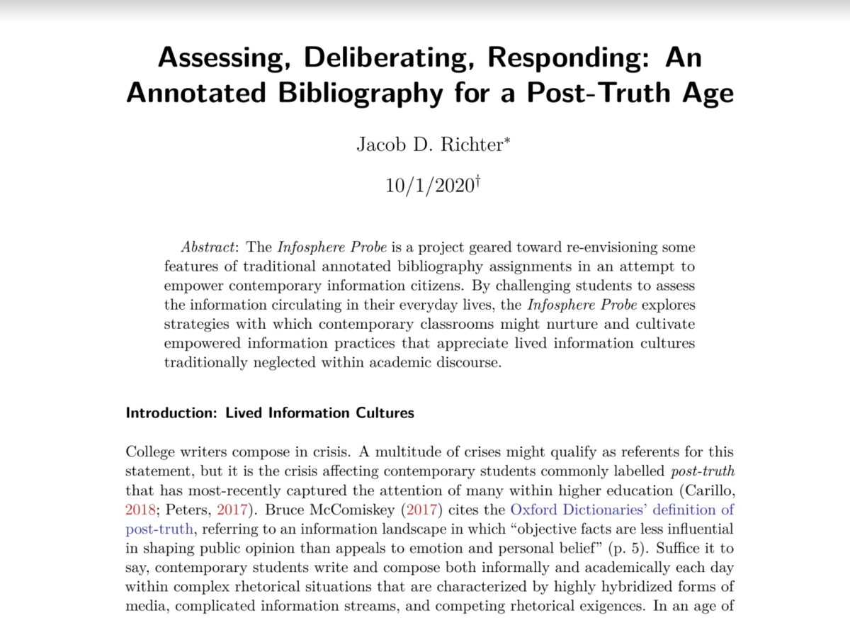 """Image is a screenshot of Jacob Richter's article """"Assessing, Deliberating, Responding: An Annotated Bibliography for a Post-Truth Age."""""""