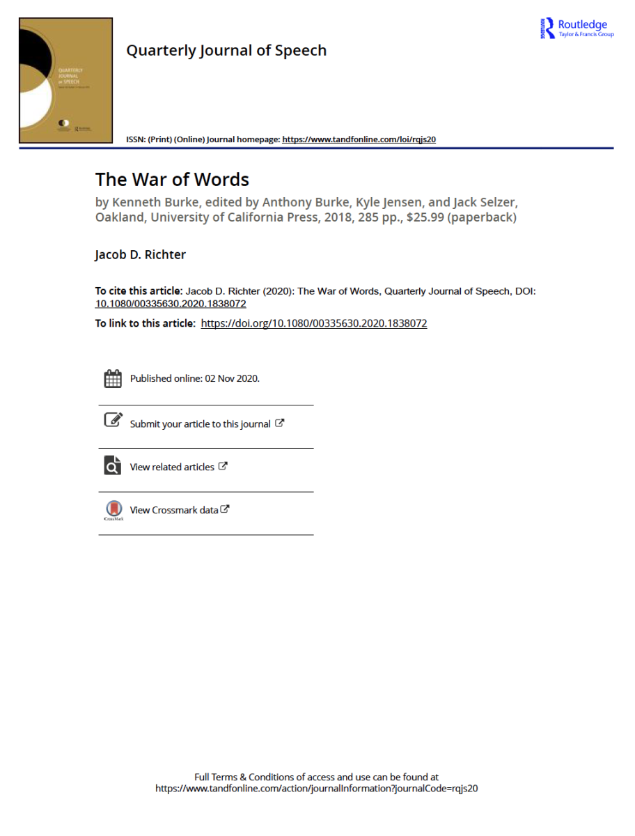 """Image is a screenshot of Jacob Richter's book review of Kenneth Burke's """"The War of Words"""""""