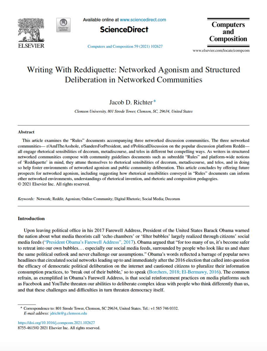 """Image is a screenshot of Jacob Richter's article """"Writing with Reddiquette,"""" published in Computers and Composition in 2021."""